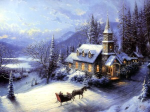 Copyright Thomas Kinkade; this image just made me think of going to church this past Sunday--cold and snowy.